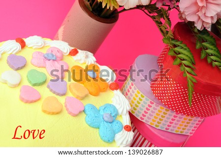 cake, flower and gift box for holidays