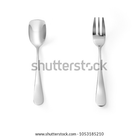 Cake fork and Ice spoon stainless steel isolated on white background