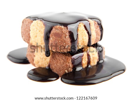 cake in a chocolate on a white background