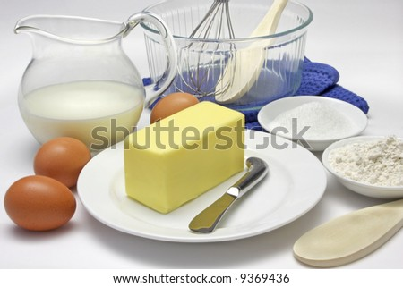 Cake making ingredients and tools stock photo 9369436 for What are the ingredients for making cake