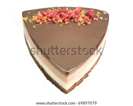 Cake of chocolate with cream isolated on white