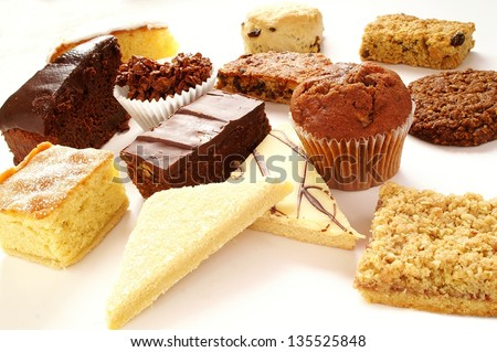 cake selection on white plate