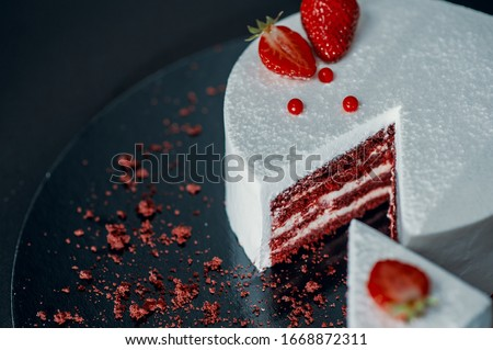 Cake slice, cream cake, slice of cake, tea dessert, birthday party, biscuit red cake with cream, top view.