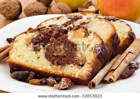 cake slice with cinnamon and sugar