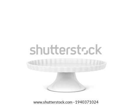 Cake stand. 3d illustration isolated on white background. Bakery utensil and dishware Foto stock ©