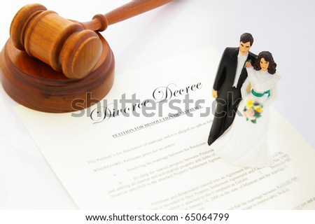 stock photo caketopper wedding couple divorce agreement and a gavel