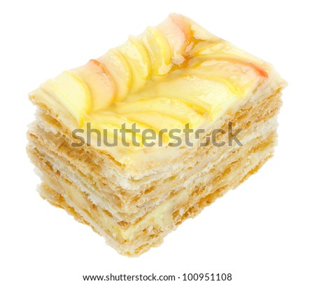 Cake with apples isolated on white with clipping path.