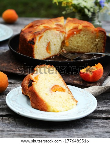 Cake with apricots on a wooden table in the garden, still life