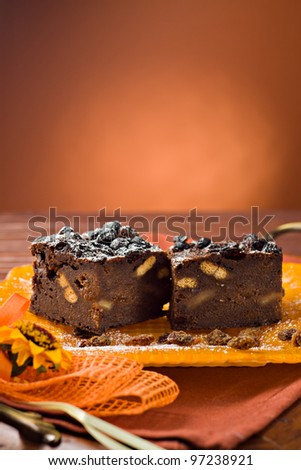 Cake with bread, cocoa, biscuits and sultanas