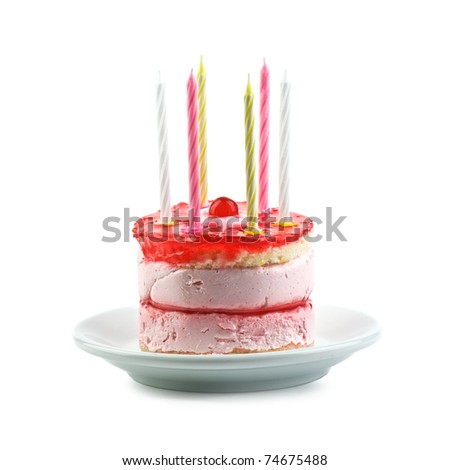 cake with candle isolated on white