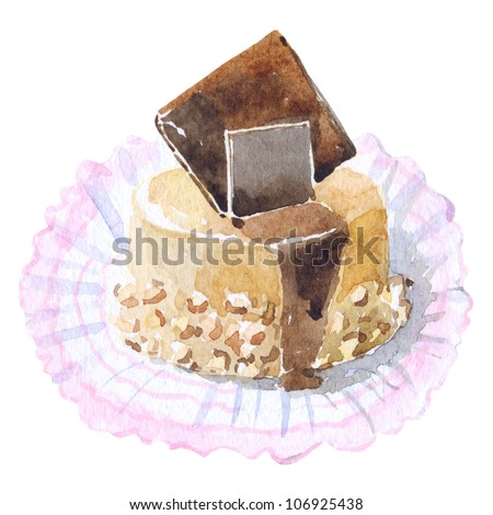 Cake with chocolate on white isolated background , watercolor illustration