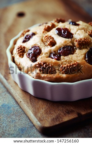 Cake with dried cranberries and white mulberry; close up