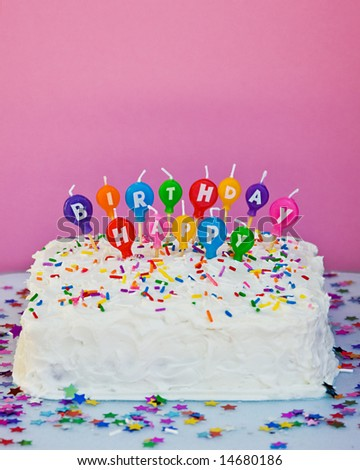 birthday cake with candles pics. stock photo : cake with happy