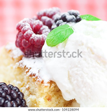 cake with icing,icecream, raspberry, blackberry and mint on a plate on plaid fabric