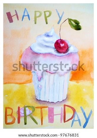 Cake with inscription Happy Birthday