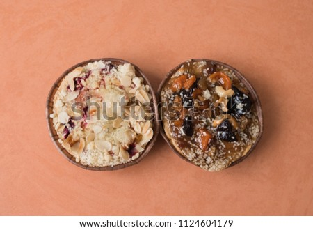 Cake with nuts. Fruit cupcake. Cake with dried fruits and cashew nuts. #1124604179