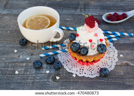 cake with raspberries and blueberries #470480873