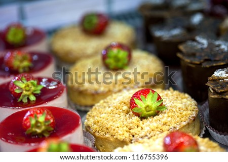Cakes and desserts in a bakery