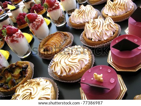 Cakes and sweets in a bakery