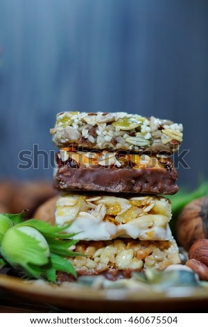 Cakes muesli with fruit and grains - dietary, tasty and healthy, Zdjęcia stock ©