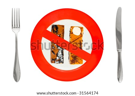 Cakes on plate - dieting sign, isolated on white background #31564174