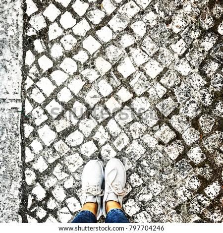 Calçada Portuguesa. Minimalism, minimalist, minimalistic. Simple, simplicity, keepitsimple. Less is More. abstract art creative artsy urban sneakers shoes portugal lisboa lisbon street suburbia #797704246
