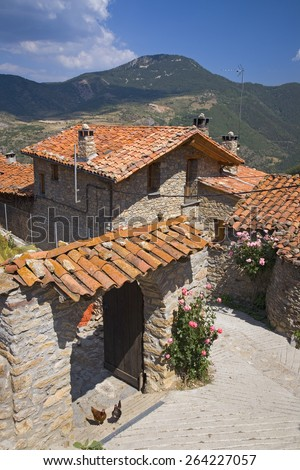 Cal Rill medieval villages in Pyrenees Mountains, near La Seu d'Urgell, Cataluna, and Ansovell, province of Lleida, off N-260 Road, Spain, Europe Stock fotó ©