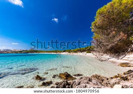 Photo of  Cala Agulla with amazing sand beach Spain, Balearic Islands, Mallorca, Cala Rajada
