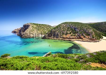 Cala Domestica beach, Sardinia, Italy. Sardinia is the second largest island in mediterranean sea.  Stockfoto ©