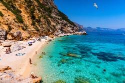 Cala Mariolu beach in Sardinia. Cala Mariolu famous beach. Italy Sardinia Nuoro province National Park of the Bay of Orosei and Gennargentu Cala Mariolu listed as World Heritage. Sardinia, Italy.