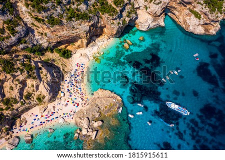 Photo of  Cala Mariolu view from above. Cala Mariolu famous beach. Italy Sardinia Nuoro province National Park of the Bay of Orosei and Gennargentu Cala Mariolu listed as World Heritage. Sardinia, Italy.
