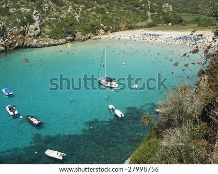 stock photo : Cala'n Porter. A beautiful beach at Menorca Island