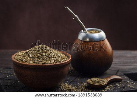 Calabas with bombilla and mate in a bowl Foto stock ©