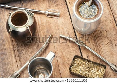 Calabash and bombilla with yerba mate.Traditional yerba mate tea Foto stock ©