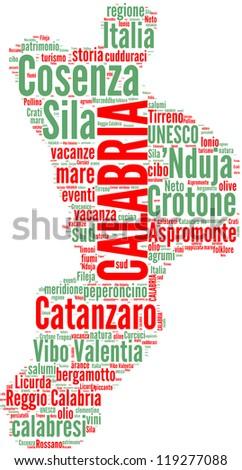 Calabria tag cloud - Italian regions