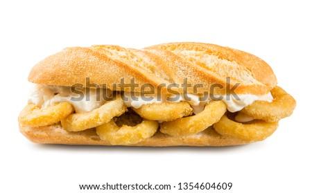 Calamari sandwich, Typical food from Madrid Сток-фото ©
