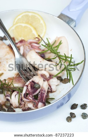 Calamari with capers and rosemary