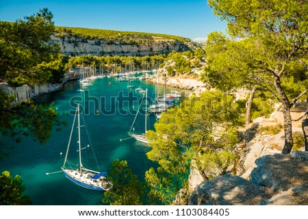 Calanque de Port Miou - fjord near Cassis Village in Provence in France Photo stock ©