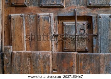 Calatañazor village traditional house door in Soria province of Castilla y Leon Autonomous Community of Spain, Europe Zdjęcia stock ©
