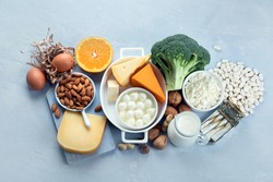 Calcium Rich Foods for Healthy diet eating and For Immune Boostig. Top view