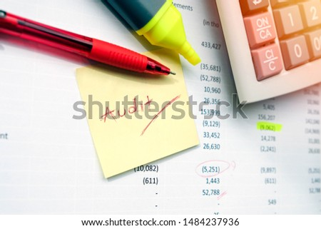 Calculate and pen's important for accountants. Before announcing financial statements to the public, audited by both internal and external auditors of the company. If you find a mistake, use a red pen #1484237936
