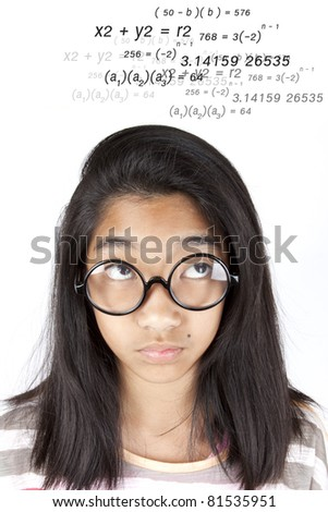 Calculate, Smart Asian girl calculate equation in her head.