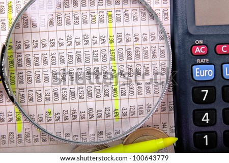calculating stock market figures - stock photo