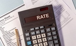 Calculating your interest rates, RATE word on calculator on documents