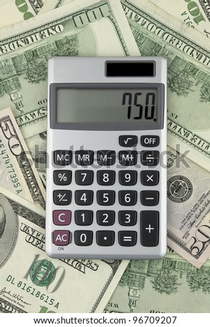 Calculator against the backdrop of money