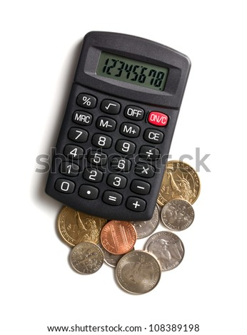 calculator and american currency on white background - stock photo