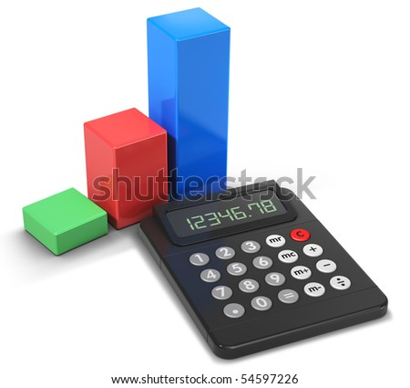 Calculator and business chart icon (3d illustration)