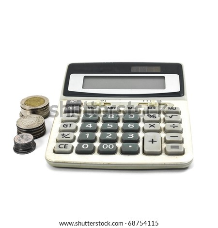 Calculator and Coins isolate on White Background