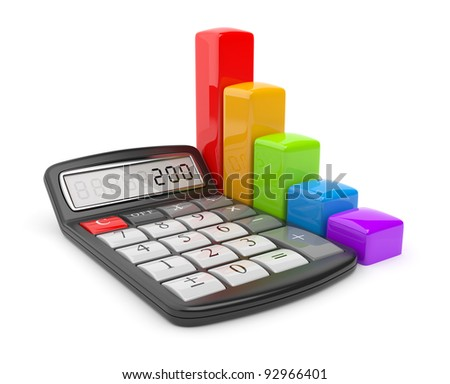 Calculator and colorful chart. Icon 3D. Business concept. Isolated on white.