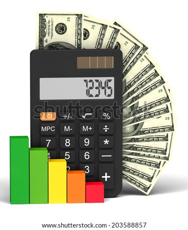 calculator and financial growth on a white background